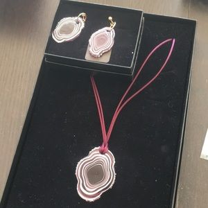 Murano swirl glass art pendant earrings set wine